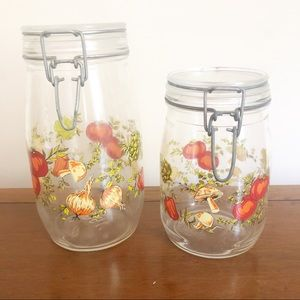 Vintage Vegetable Mushroom Kitchen Canister Set